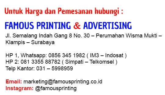 Kontak info famous printing cetak stiker label cetak dus makanan kue