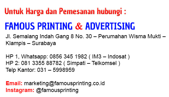 Kontak info famous printing cetak stiker label cetak sablon tas plastik